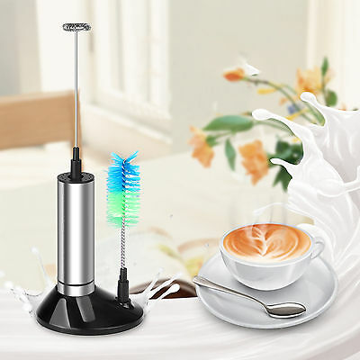 Electric Milk Frother Drink Foamer Whisk Mixer Coffee Eggbeater Kitchen + Brush