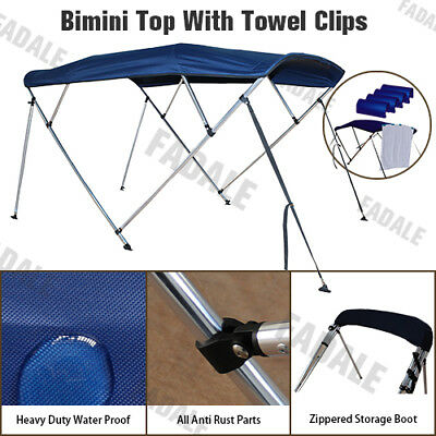 4 Bow Boat Bimini Top Canopy Cover 8 ft Long 79''-84'' Width Support Poles PB4N1