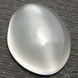 12x10mm OVAL CABOCHON-CUT NATURAL INDIAN WHITE CATS-EYE MOONSTONE GEM