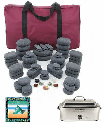 HOT STONE MASSAGE KIT: 70 Basalt Stones + 18 Quart Heater & Music CD