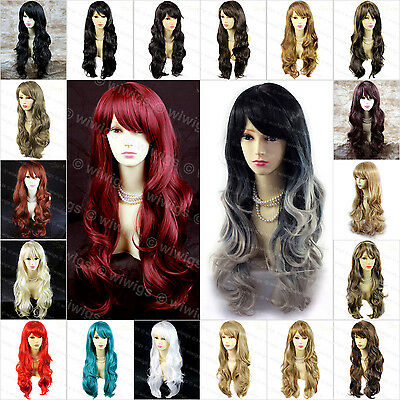 Wiwigs Beautiful Long Wavy Black Brown Red Blue Skin Top Ladies Wigs
