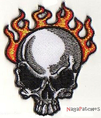 Ecusson hotfix thermocollant patche Skull on fire / patch 973b