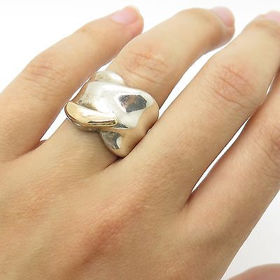 Vintage Sterling Silver Gold Modern Twisted Bold Wide Women's Ring Size 4.5