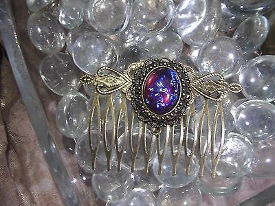 medieval LARP DRAGONS BREATH MEXICAN FIRE OPAL VICTORIAN Hair Comb Clip BRONZE
