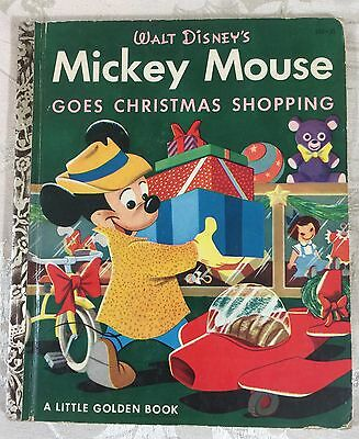 Walt Disney Little Golden Book Mickey Mouse Goes Christmas Shopping #D33 25₵