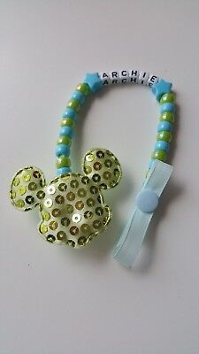 Baby Boy Large Mickey Mouse Personalised Dummy Saver Holder Clip