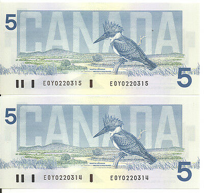 Bank of Canada 1986 $5 Five Dollars Lot of 2 Consecutive Notes EOY GEM UNC