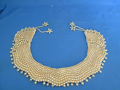 Unique Vintage Hand Made Faux Pearl & Crystals Beaded Collar Hanging Stars Japan