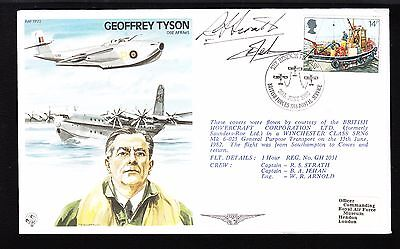 Great Britain Geoffrey Tyson OBE Flown Cover Signed Captains Strath & Jehan *