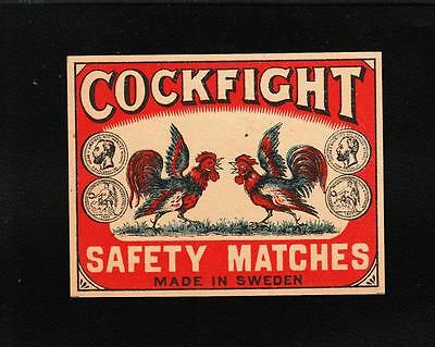 "VINTAGE Matchbox Label DEEP RICH COLOR 3.5x2.75"" Cockfight Cock Roosters  C1"