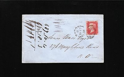 England Dawson & Co Victoria 1858 London Oval SE Penny Red Cover 1y