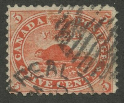 Canada 1859 Cents Beaver 5c vermillion 'Rock in Waterfall' POS 53 #15vii used