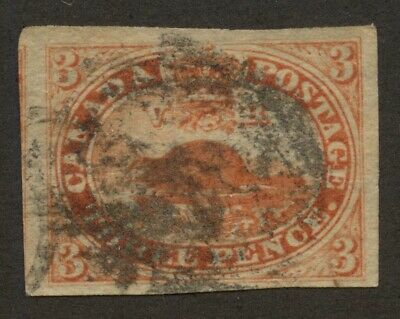Canada 1852 Beaver 3d orange red, thin paper #4d VF used