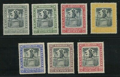 Barbados 1906 Nelson Monument issue Sc #102-108 mhr