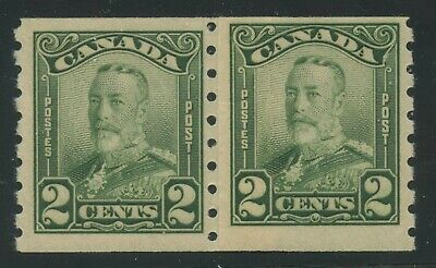 Canada 1929 KGV Scroll 2c green coil 'Paste Up'  pair #161i MNH