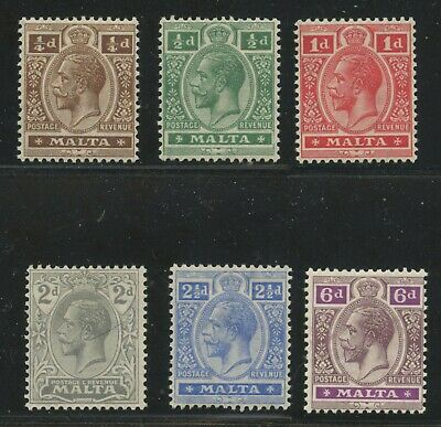 Malta 1921-22 KGV issue low values Sc #66-71 mhr