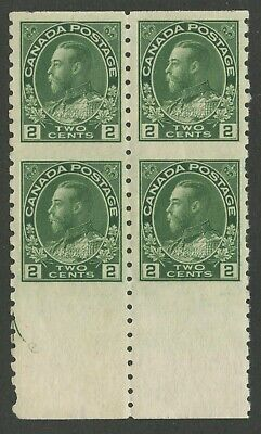Canada 1924 KGV Admiral 2c Part Perf Blk of 4 #128a VF MNH