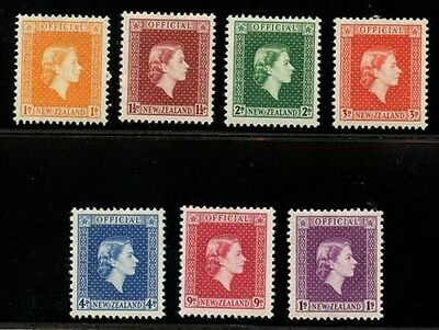 New Zealand 1954 QEII 'Official'  issue Sc #O100-O106 mlh