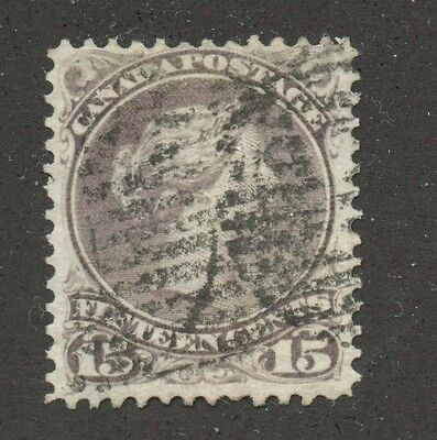 Canada 1868 Large Queen 15c greyish purple Perf 11.5x12 #29a VF used