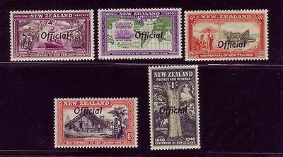 New Zealand 1940 KGVI Ovpt High Values Sc #O82-O86 mlh