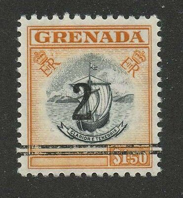 Grenada 1953 $1.50 orange Surcharged Sc #182 Var - MNH