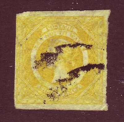 New South Wales 1855 QV 8p yellow Sc #30a SG #98 used