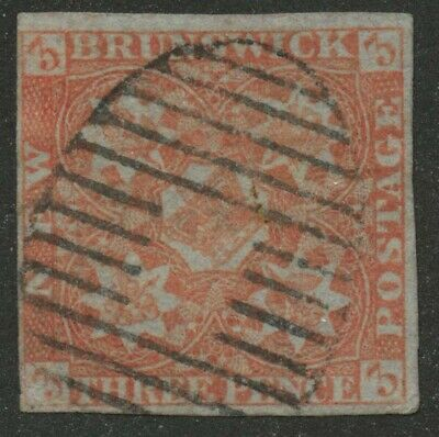New Brunswick 1851 Pence 3d red #1 used