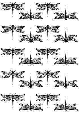 "Dragonfly Dragonflies 5"" X 3-1/2"" Card Black Fused Glass Decals 16CC676"