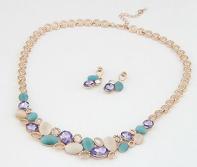 Fashion Women's Gold Plated Chain Multicolor Opal Necklace Earrings Jewelry Sets