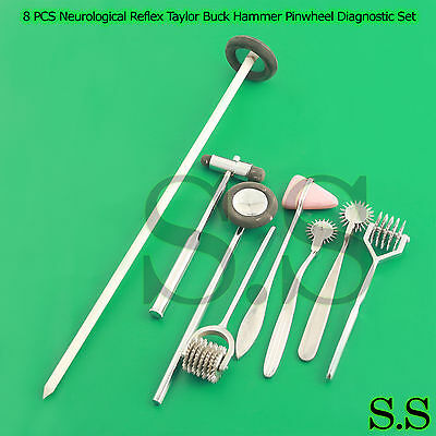 8 PCS Neurological Percussion Reflex Taylor Buck Hammer Pinwheel Diagnos DS-913
