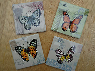 SHABBY VINTAGE CHIC BUTTERFLY DESIGN COASTERS DRINKS MATS Ceramic Tile Set of 4