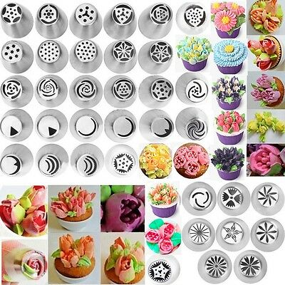 36 pcs Russian Tulip Flower Icing Piping Nozzles Cake Decoration Baking Tools