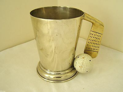 Vintage c.1950's PHV & Co Silver Plate Golf Ball & Putter Pint Tankard ~ V Rare