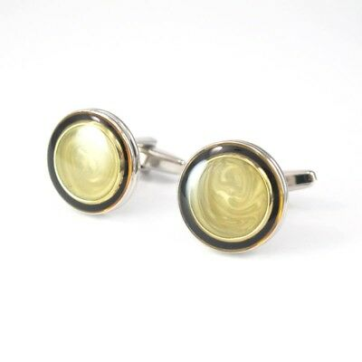 Round Shell Silver Stainless Steel Mens Cufflinks FREE GIFT BOX NEW