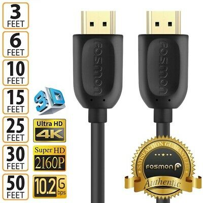 HDMI 1.4 4K 3D HDTV PC Xbox ONE PS4 High Speed Cable Plug 3 6 10 15 25 30 50 FT