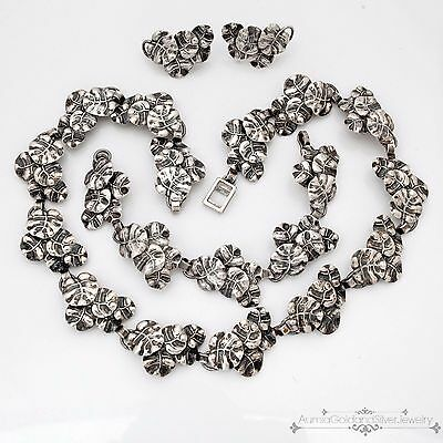 Antique Art Deco Sterling Silver Ella L. Cone Necklace Bracelet Earring Set!