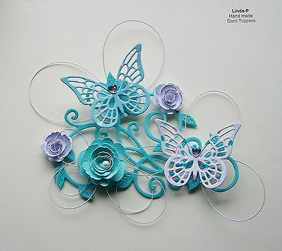 3D FLOWER, BUTTERFLY AND WIRE CARD CRAFT TOPPER  GEN 12-5 Jade