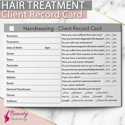 Hairdressing Client Record Card Treatment Consultation Hairdressers Salons A6