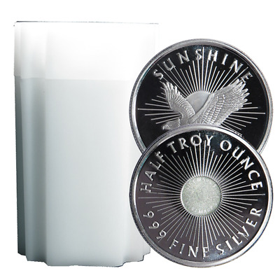 Lot of 20 - 1/2 Troy oz Sunshine Minting .999 Fine Silver Round Mint Mark SI