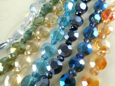 1 Str 8mm Faceted Flat Coin Chinese Crystal Beads (You Pick Color)