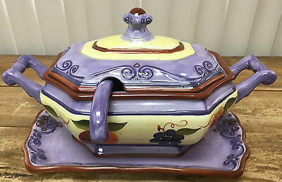 Medici Soup Tureen 4 Pieces Tabletops Unlimited Hand Painted Purple Fruit 207414