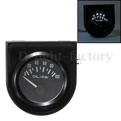 2'' 52mm Car LED Light Pointer Fuel Oil Pressure Meter Gauge 0-100 PSI Sensor
