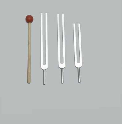 3 missing  Sacred Solfeggio Tuning forks + Mallet for Sound Healing Therapy