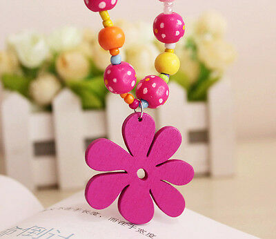 Kids Girls Plastic Beads Butterfly Necklace + Bracelet  Jewelry Set Flower Gifts