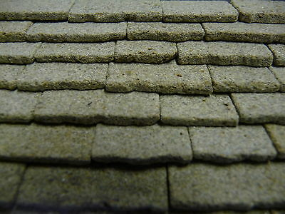 6 sq ins 1:24th Scale REAL STONE Miniature Grey Stone Roofing Slabs