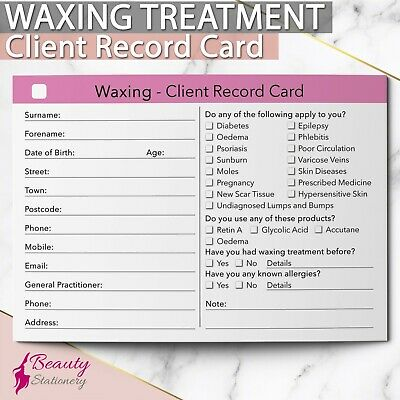 Waxing Tan Client Record Card Treatment Consultation Beauty Salons Spa A6