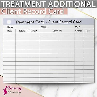 Additional Client Treatment Record Card Consultation Beauty Massage Salon Spa A6