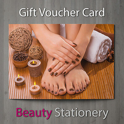 Gift Voucher Beauty Salon Blank Card Coupon Nail Pedicure Manicure Gel A7 + Env.