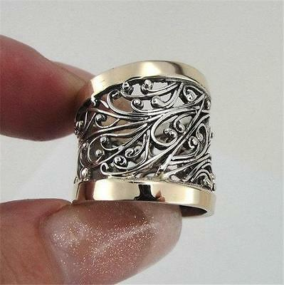 Hadar Designers Israel Filigree 9k Gold Sterling Silver Ring any size (S r11300)