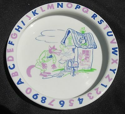 Big Bad Wolf ALPHABET ABC Children's Dish Shenango China 1964